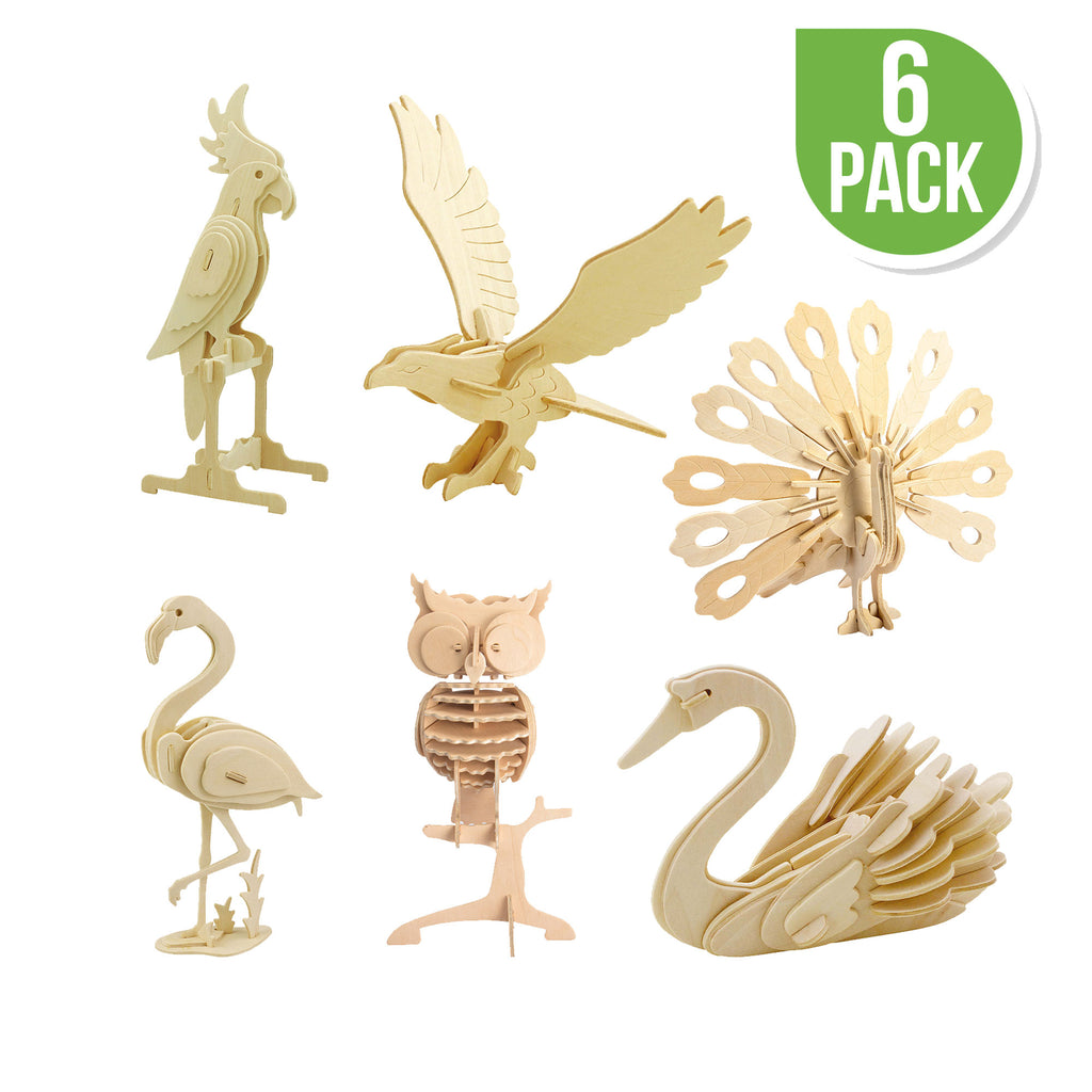 Hands Craft DIY 3D Wooden Puzzle 6 ct, Bird Animals-JP2B4