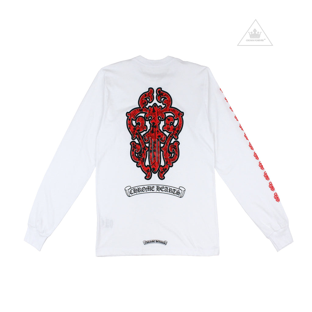 CH Red Dagger Long Sleeve T Shirt in White