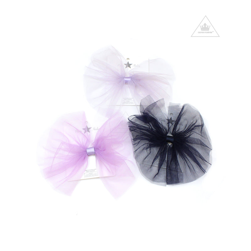 Petite Hailey Large Tutu Bow Navy/ Lavender/ Purple