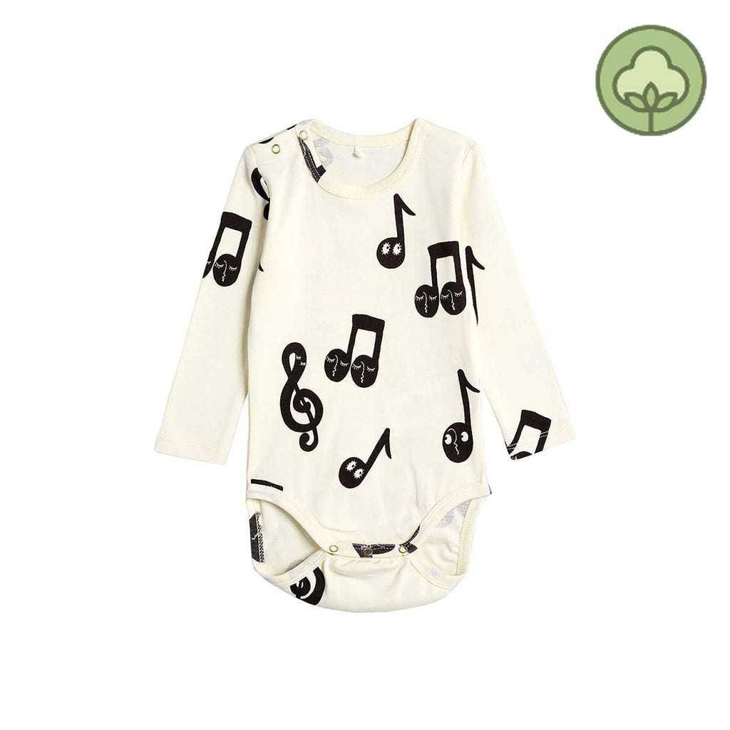 Mini Rodini Note Baby Long Sleeve Body Offwhite