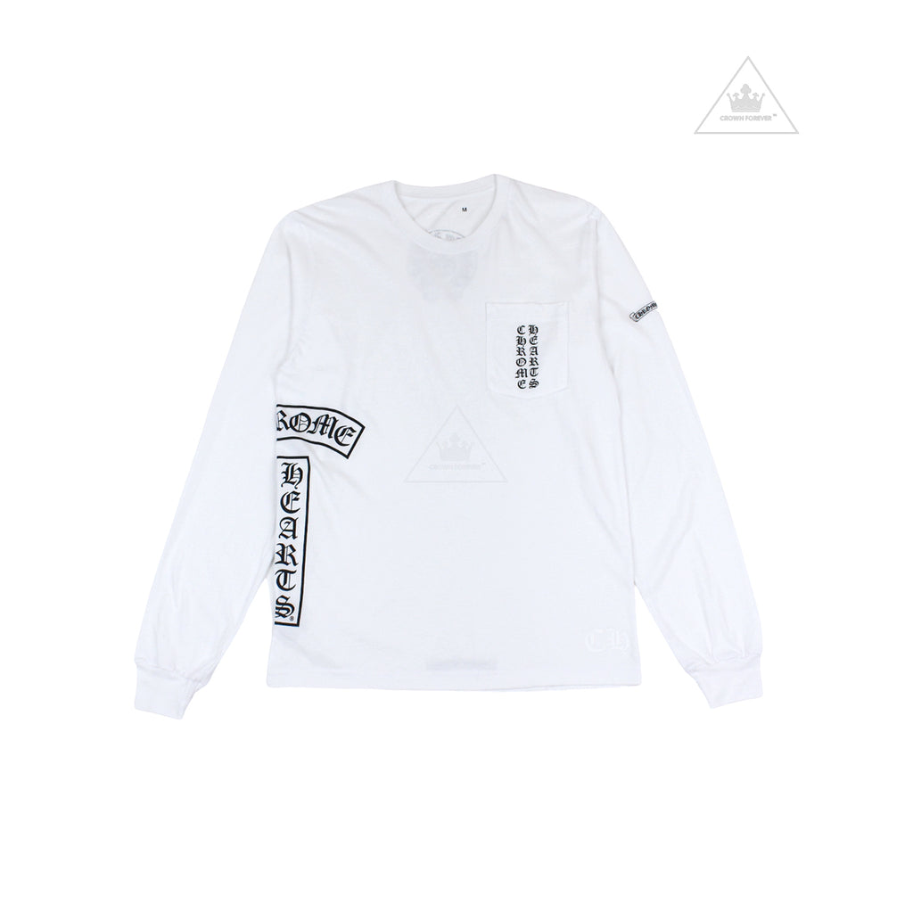 Chrome Hearts Horseshoe T Logo Long Sleeve T Shirt White