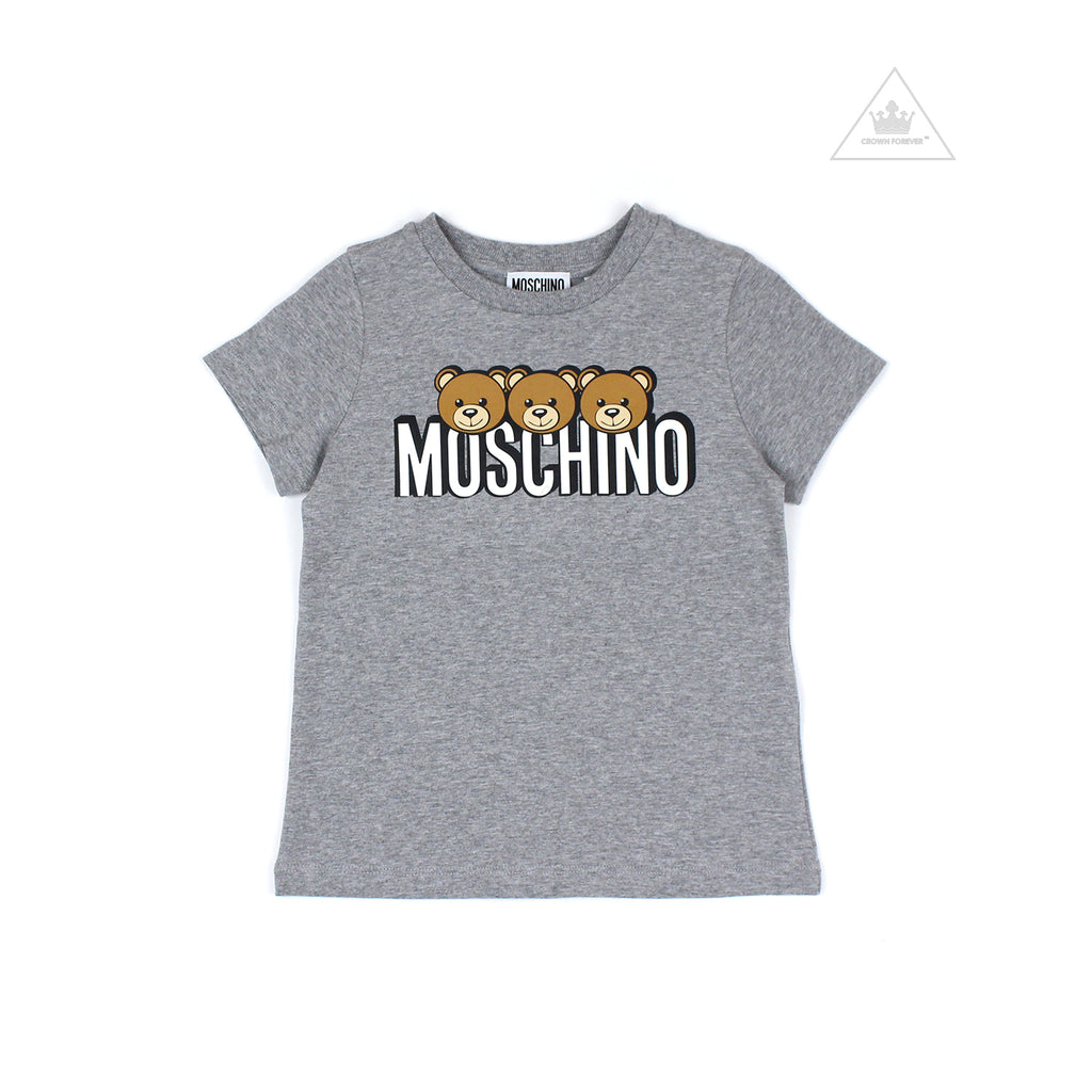 Moschino Kids Girls Short Sleeve T With Logo And Bear Graphics Grey