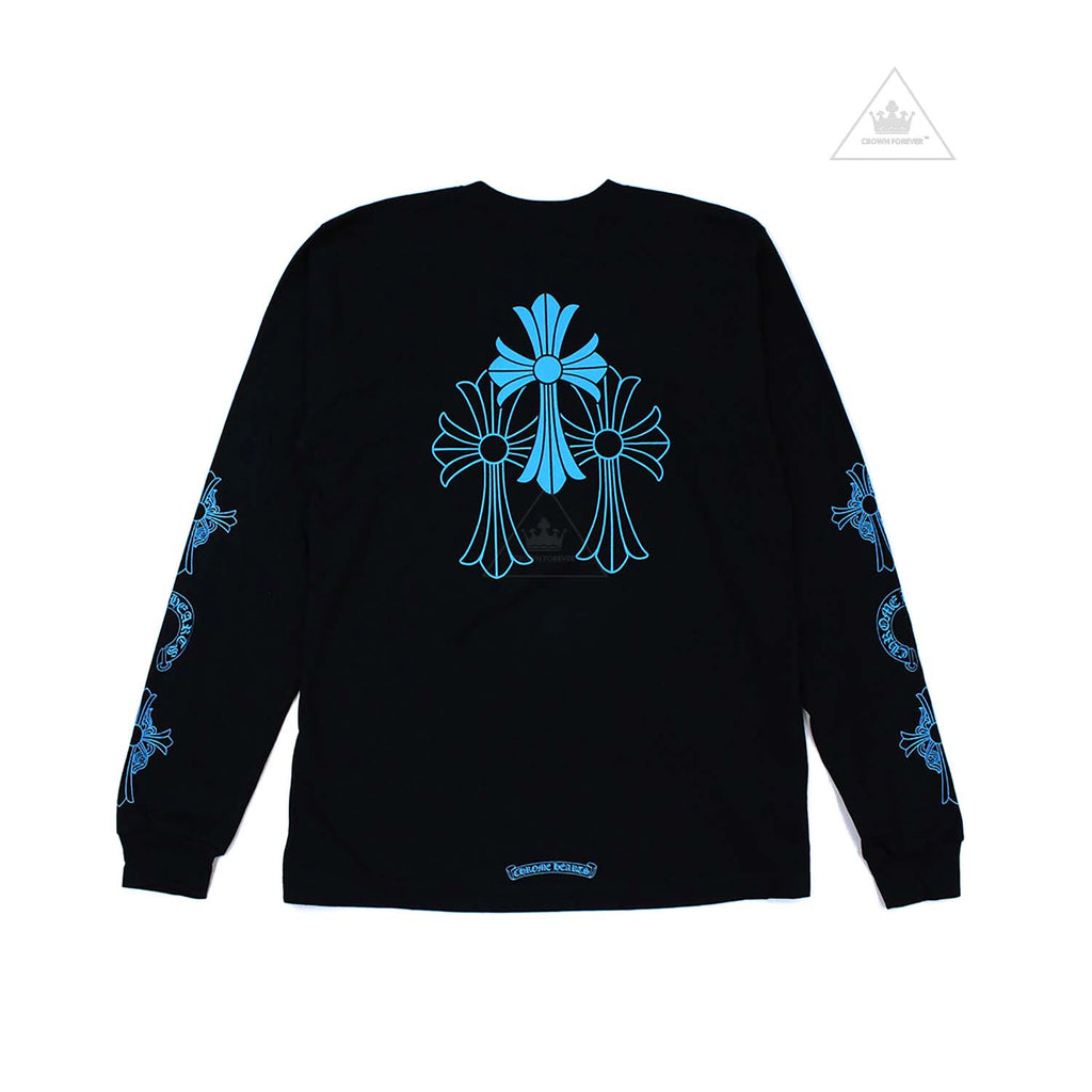 Chrome Hearts Baby Blue Cross Long Sleeve T Shirt Black