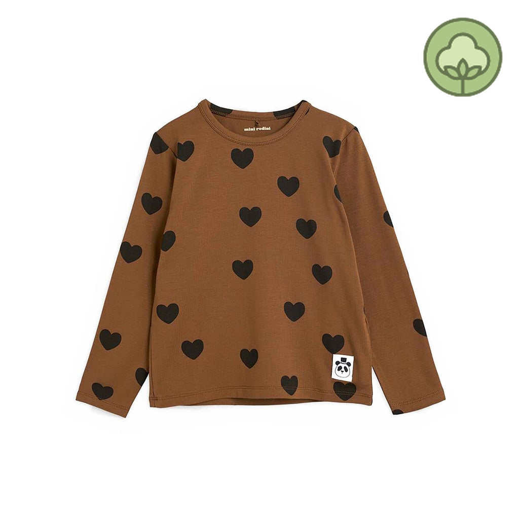 Mini Rodini Basic Hearts Kids Long Sleeve T Shirt Brown
