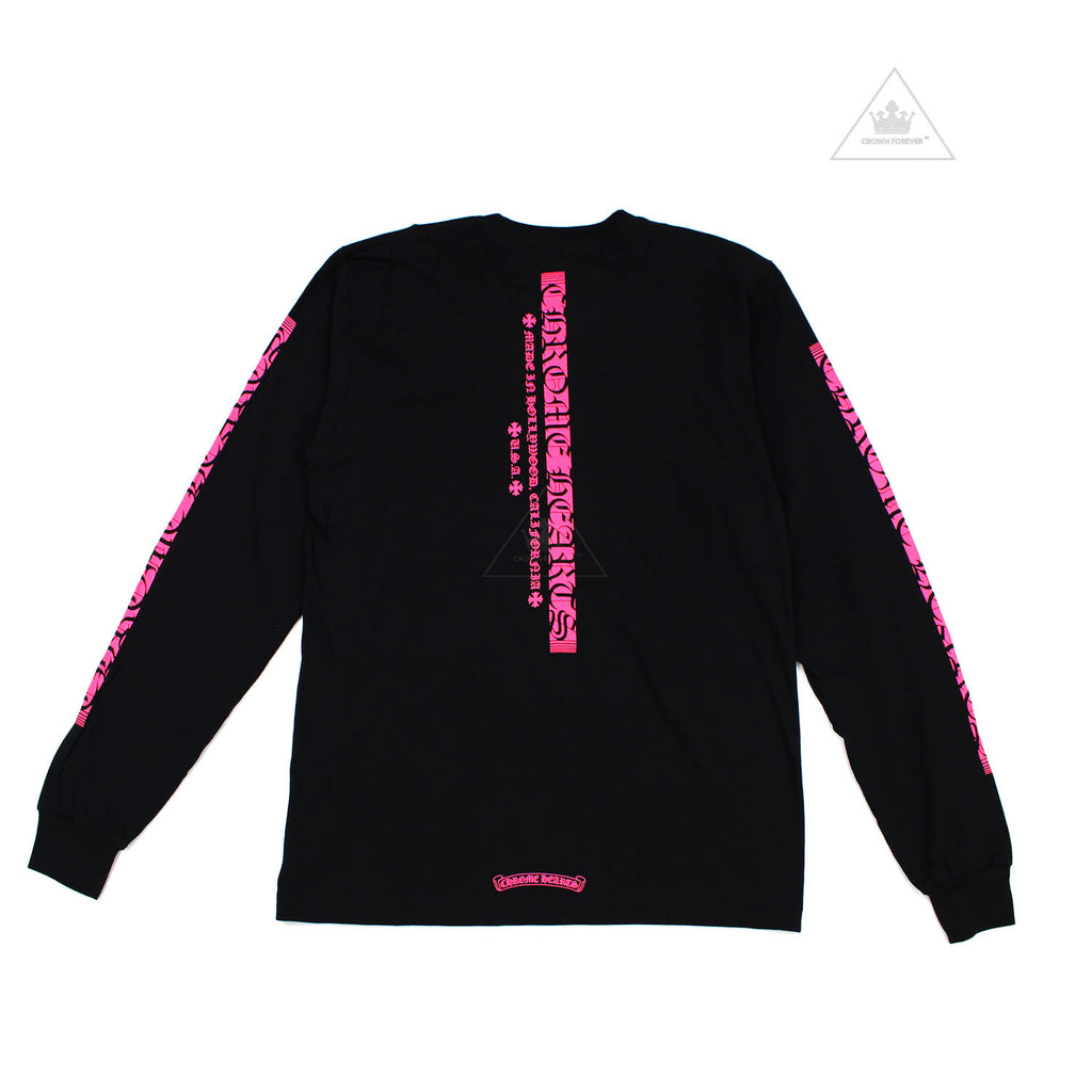 Chrome Hearts Neon Pink C19-2B Script Long Sleeve Sleeve T Shirt Black