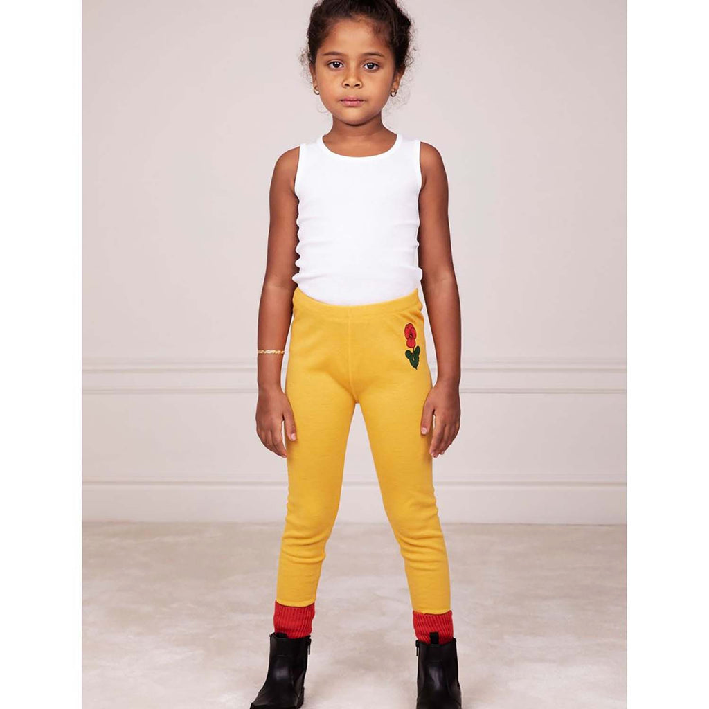 Mini Rodini Viola Kids Wool Leggings Yellow