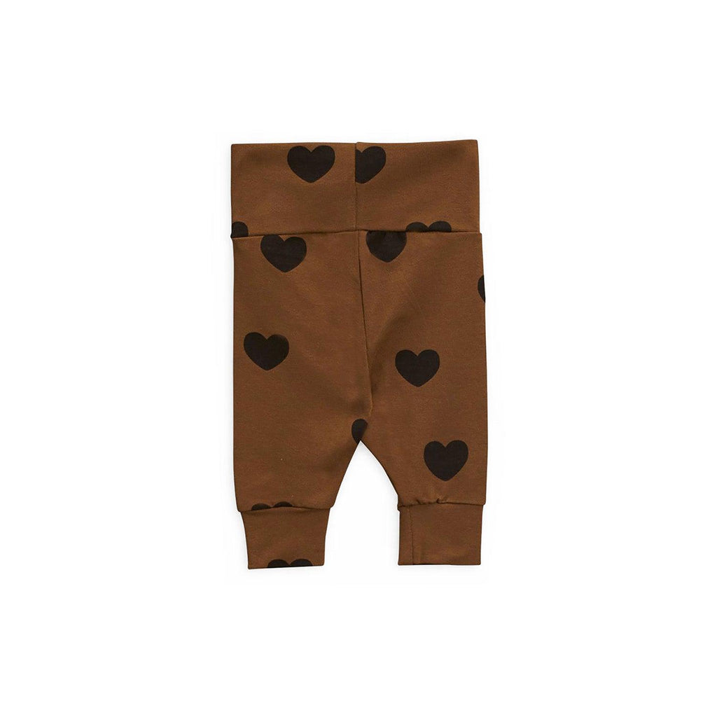 Mini Rodini Basic Hearts Newborn Leggings Brown