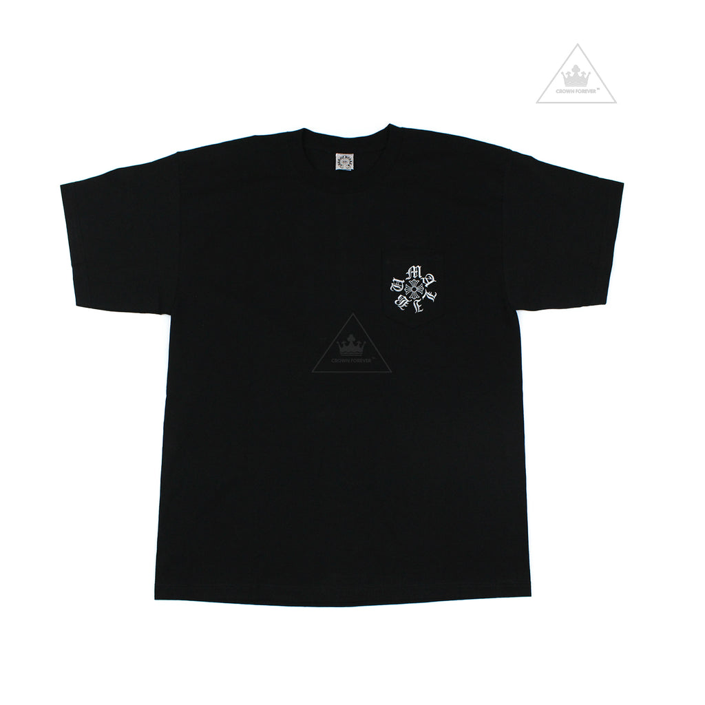Chrome Hearts Limited Malibu Script Silver Letter Black T Shirt