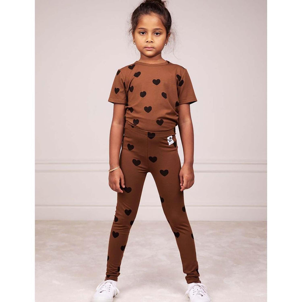 Mini Rodini Basic Hearts Kids T Shirt Brown