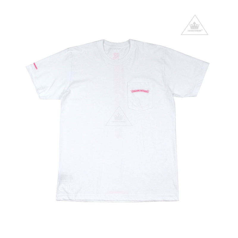 Chrome Hearts Neon Pink Script Short Sleeve T Shirt in White
