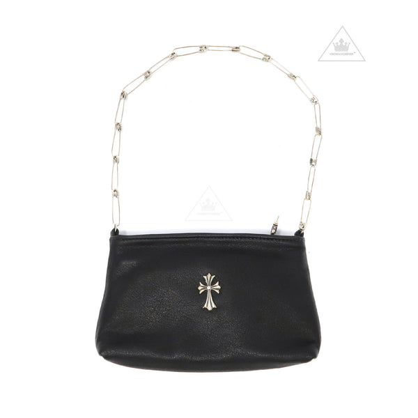 Chrome Hearts Leather Bag in Lux Black with Cross Pin Chain
