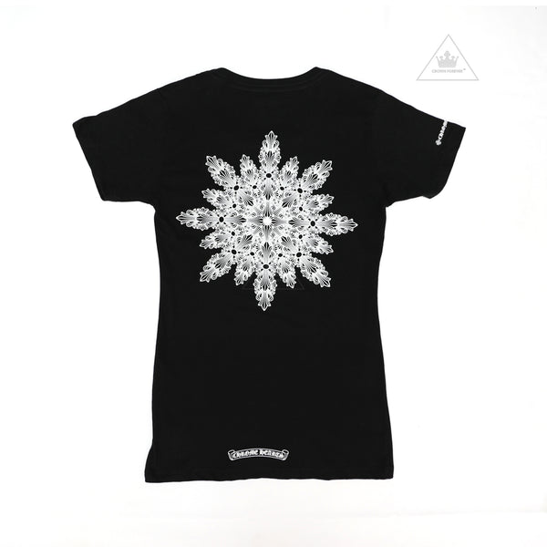 Chrome Hearts Women's Floral Cross Tee in Fractal Pattern