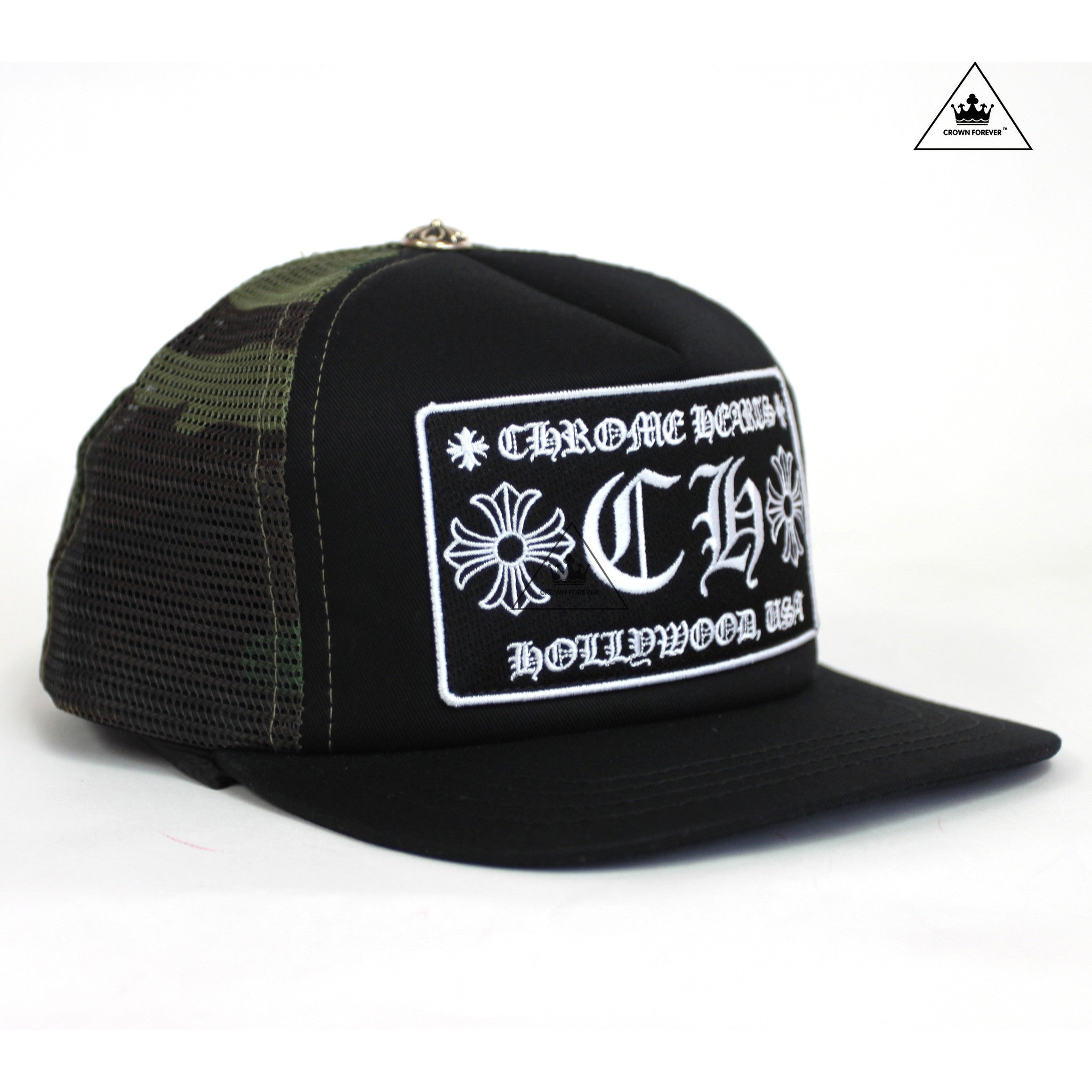 a676dc7245622 Chrome Hearts Hollywood Patch Mesh Trucker Cap Black Camo – Crown ...