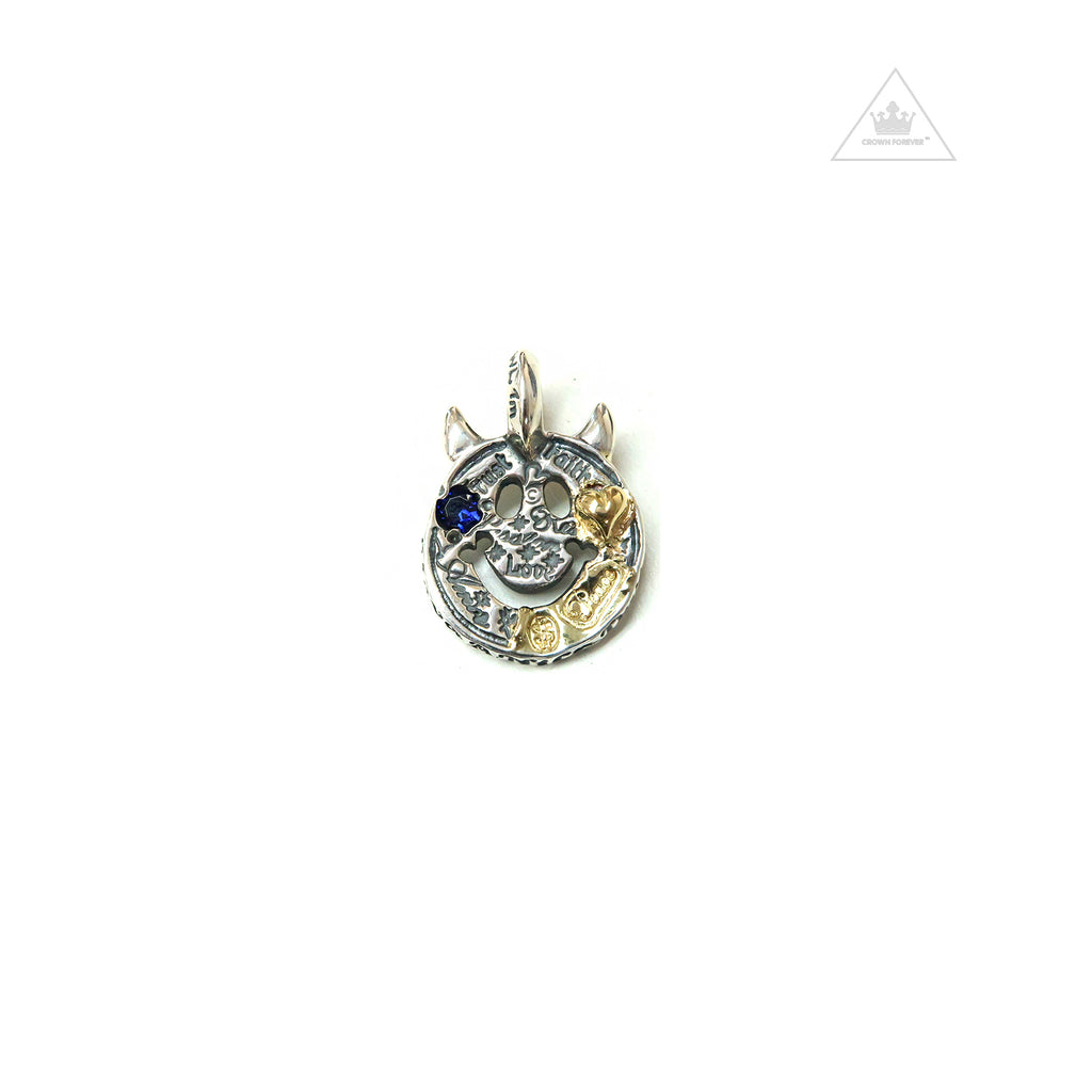 Bill Wall Leather C375GR Happy Face with Horns Charm Blue Sapphire