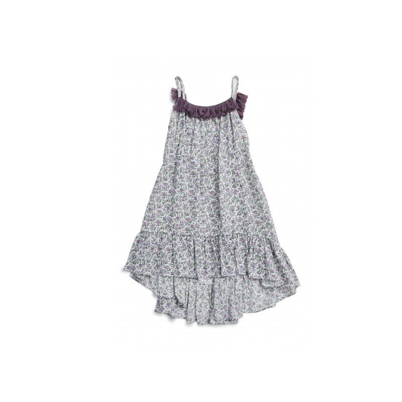 Petite Hailey Ruffle Flower Unbal Dress-Purple