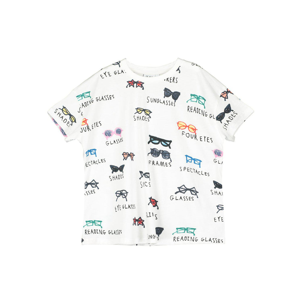 Beau Loves  Short Sleeve Square T-shirt, Ecru, Spectacles AOP