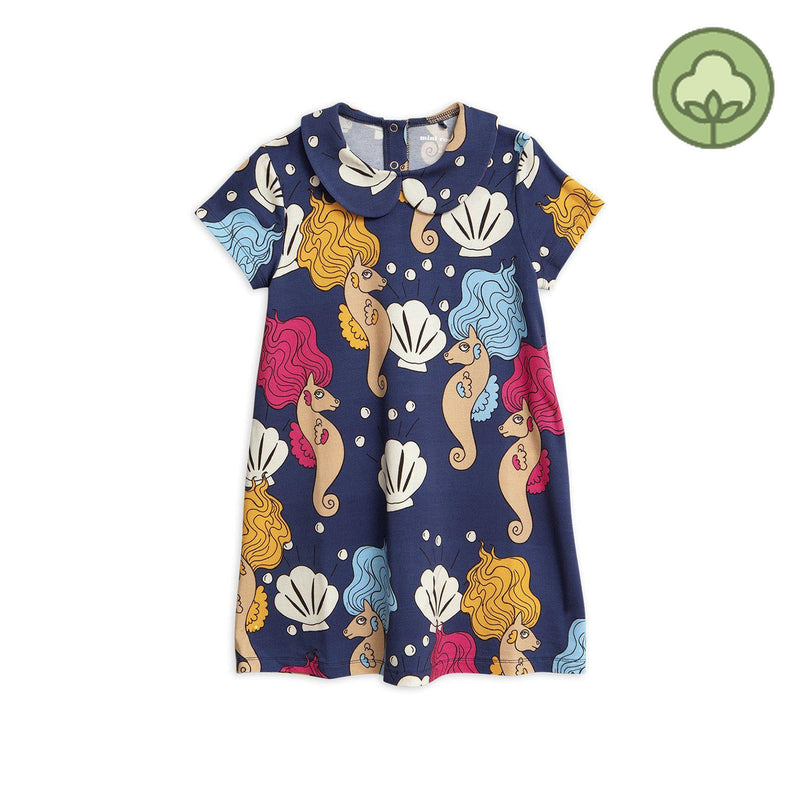 Mini Rodini Seahorse Collar Dress Navy