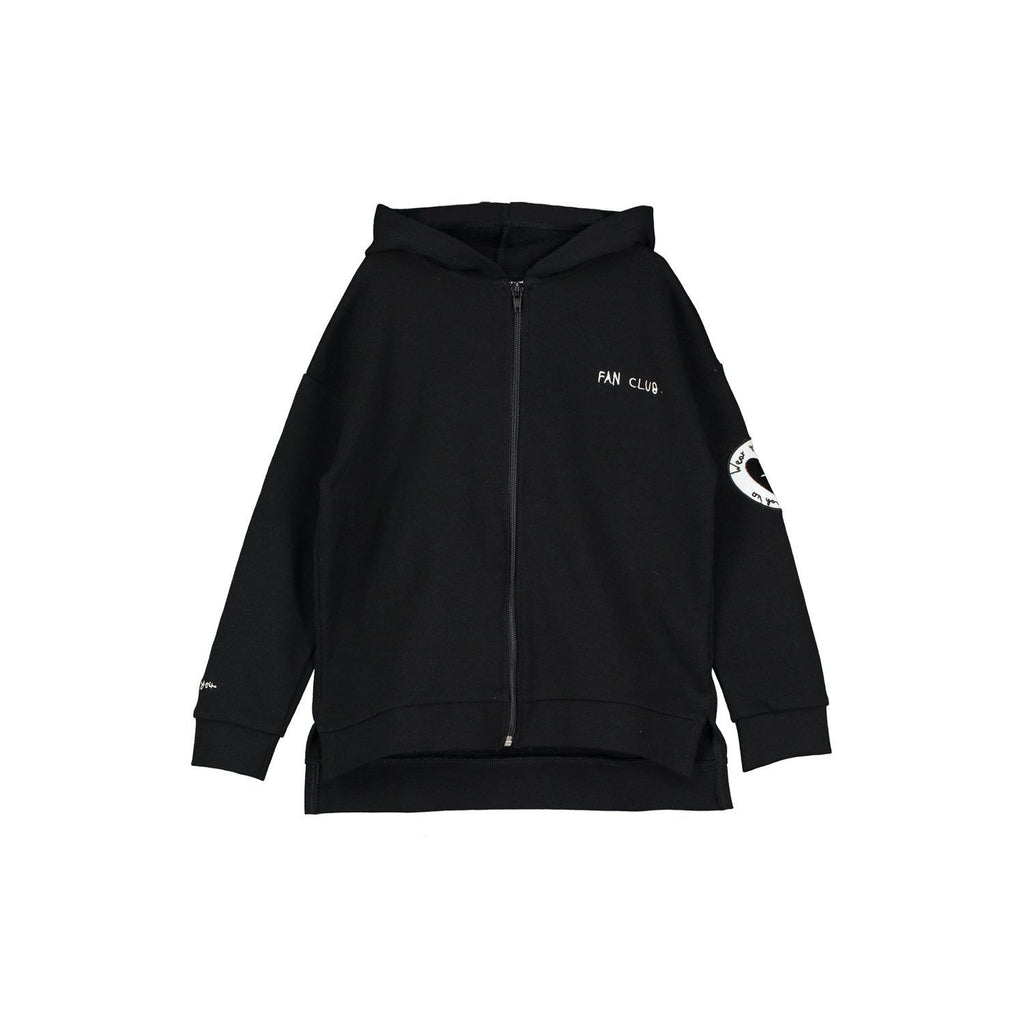 Beau Loves Zip Square Hoodie, Black, Loves