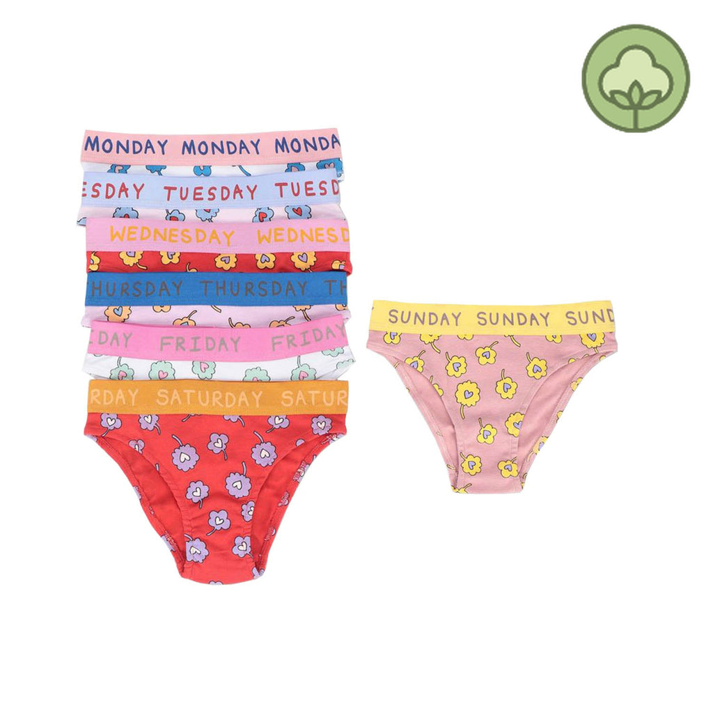 Stella McCartney Kids Ditsy Flowers Jersey Rib Brief Week Set