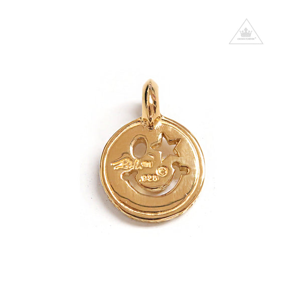 "Bill Wall Leather C373 Happy Face Charm ""Small"" 18k Yellow Gold"