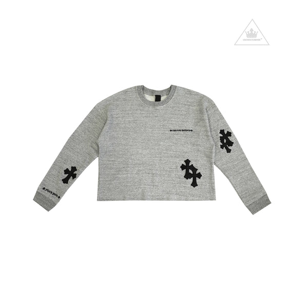 Chrome Hearts Women's Cropped Group Y Not Leather Cross Sweater