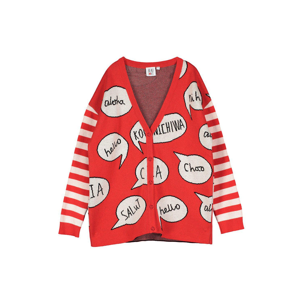 Beau Loves Knit Cardigan, Tomato Red/Ecru, Hello, Speech Bubbles