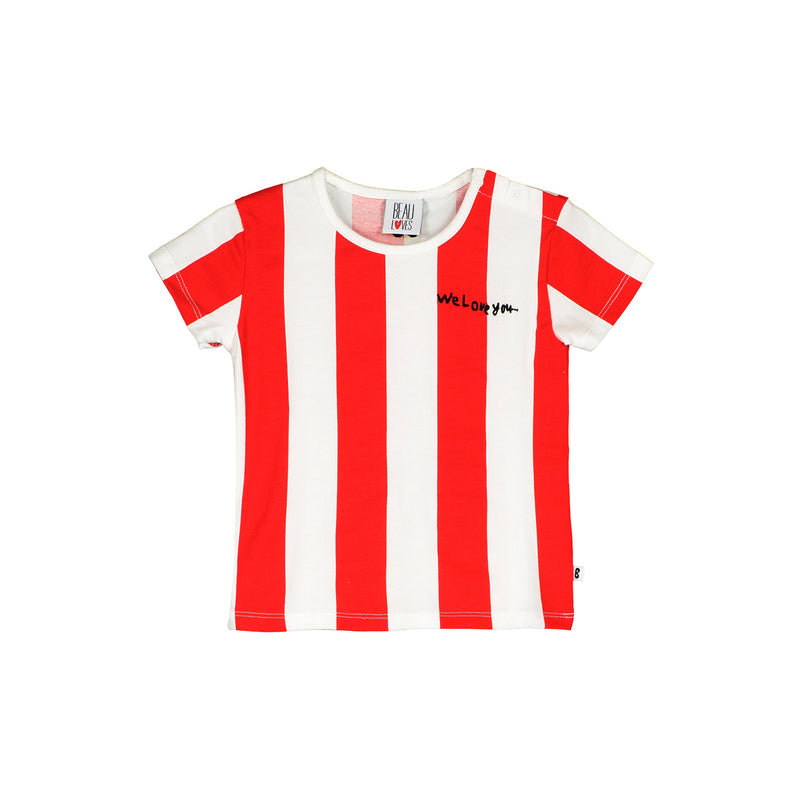 Beau Loves Baby T-shirt, Ecru/Tomato Red, Deck Chair Stripes