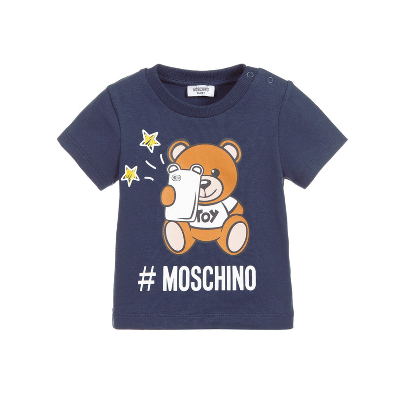 Moschino Kids Unisex Blue Cotton T-Shirt