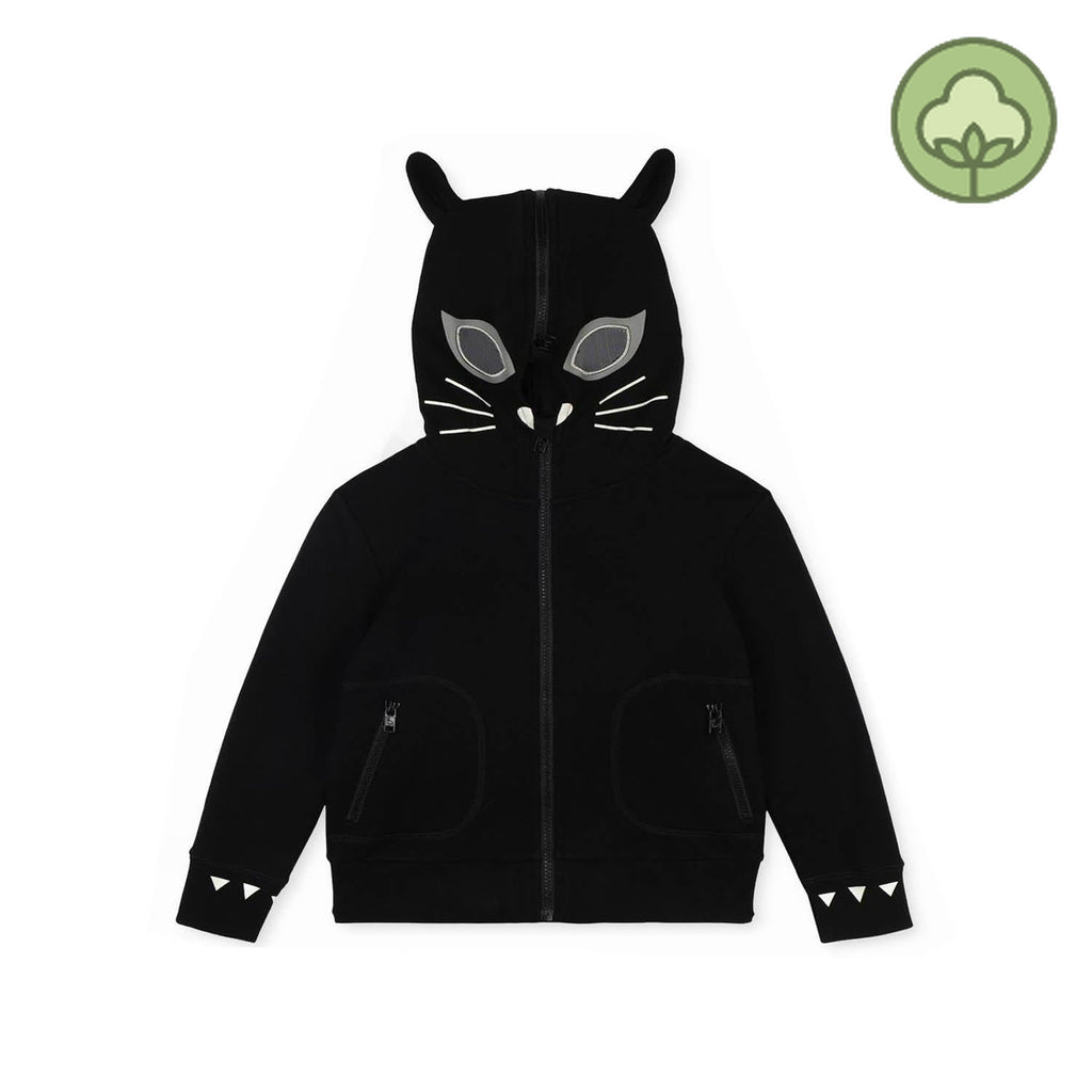 Stella McCartney Kids Cat Cotton Zip-Up Hoodie Black
