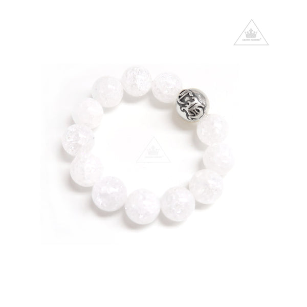 Chrome 14mm Bead White Bracelet