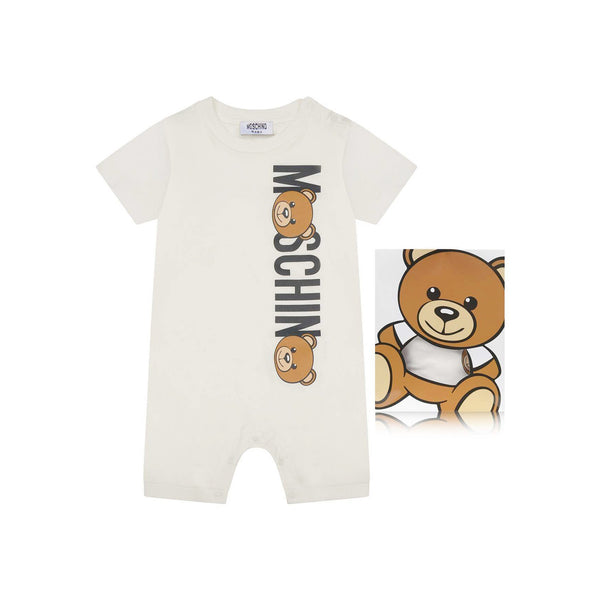 Moschino Baby ONESIE WITH LOGO AND MOSCHINO TEDDY BEAR