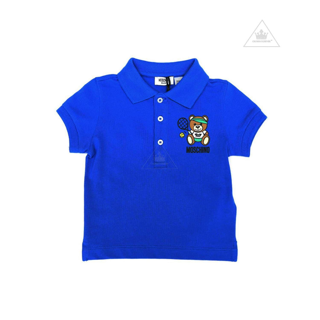 Moschino Polo Tennis Teddy Bear Shirt Dark Blue