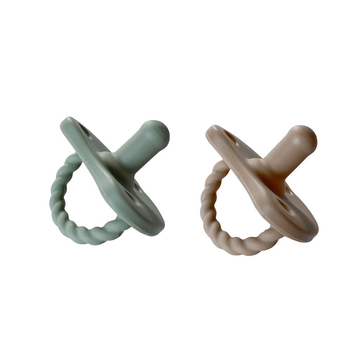 Chewable Charm 2 Pack Pacifier + Twirl | Sage + Almond