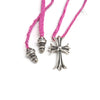 Chrome Hearts Small Cross Pendant in Pink Leather