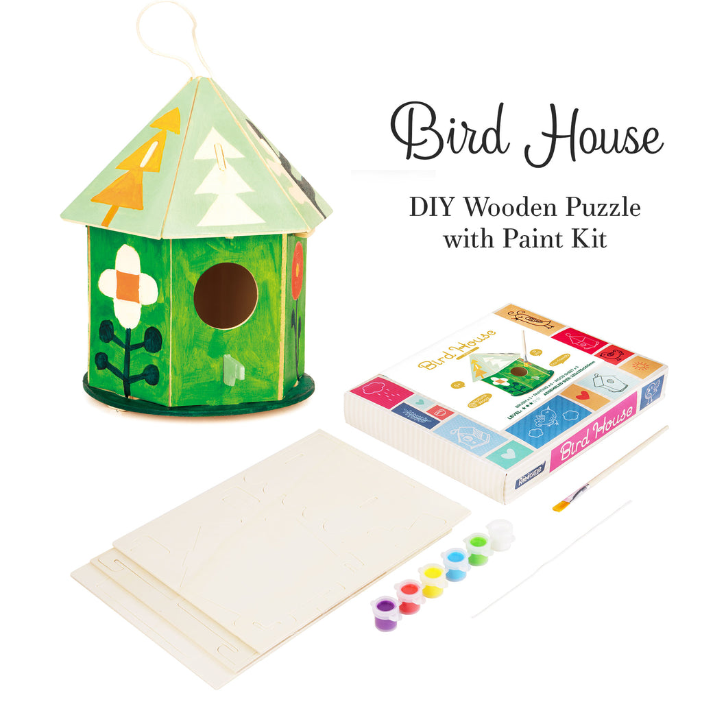 Hands Craft DIY 3D Wooden Birdhouse with Paint Kit-FY197