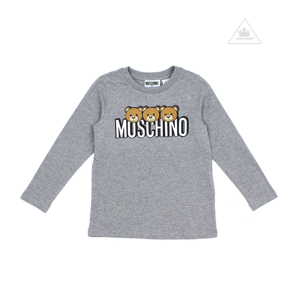 Moschino Kids Girls Long Sleeve T With Logo And Bear Graphics Grey