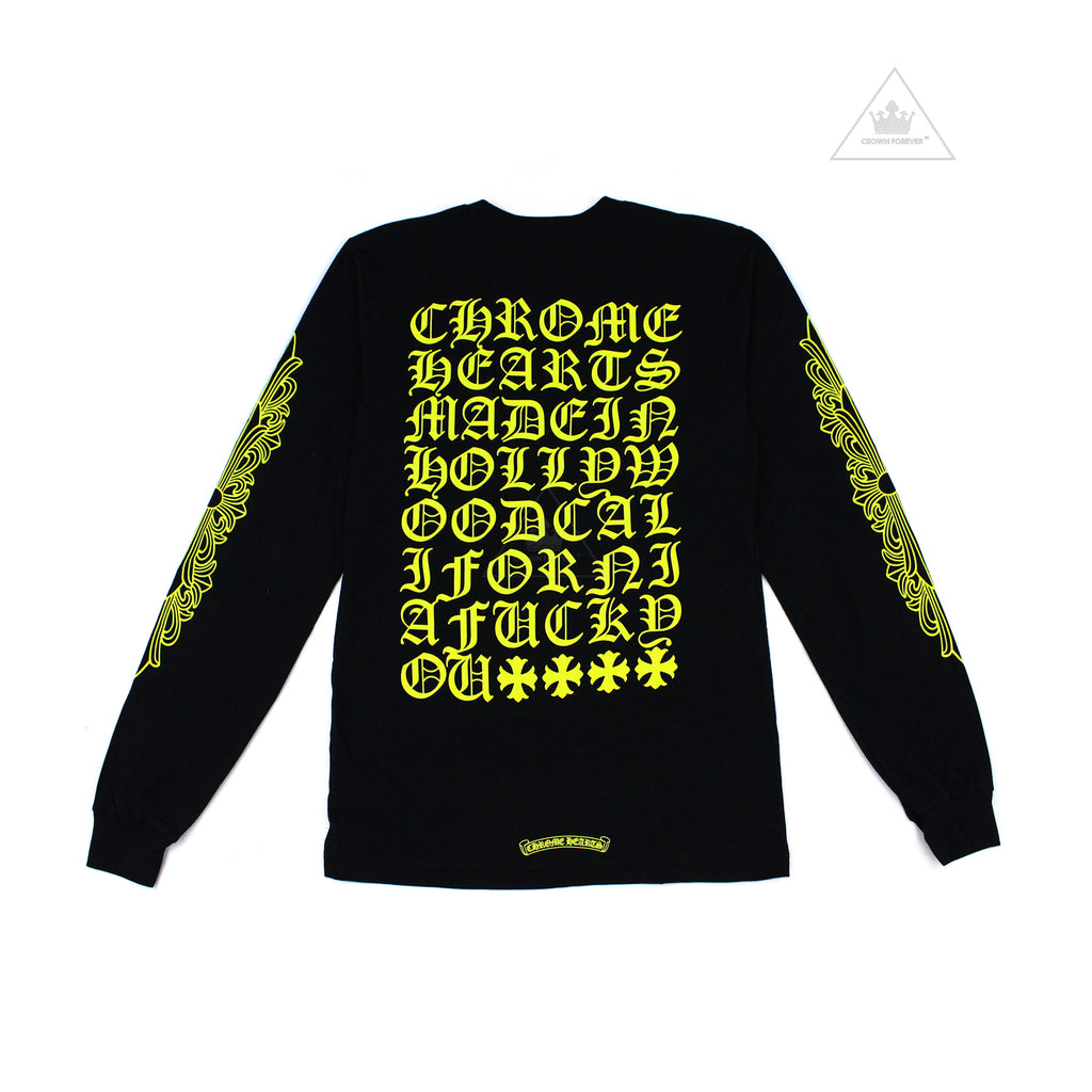 Chrome Hearts Made in Hollywood USA Fuck You Script in Neon Green Black