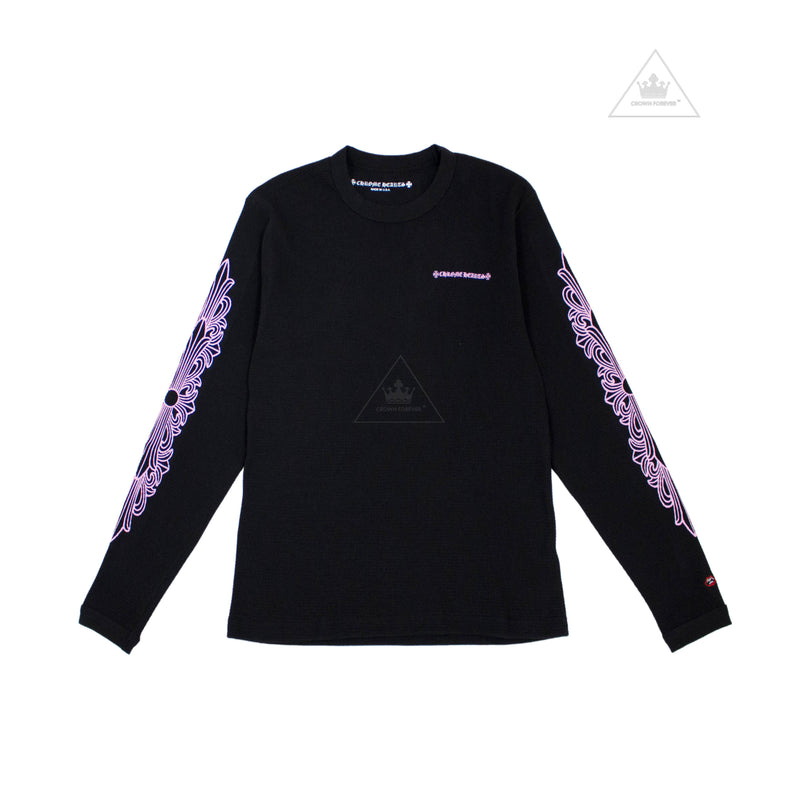 Chrome Hearts Matty Boy Thermo Long Sleeve T Shirt in Pink Script