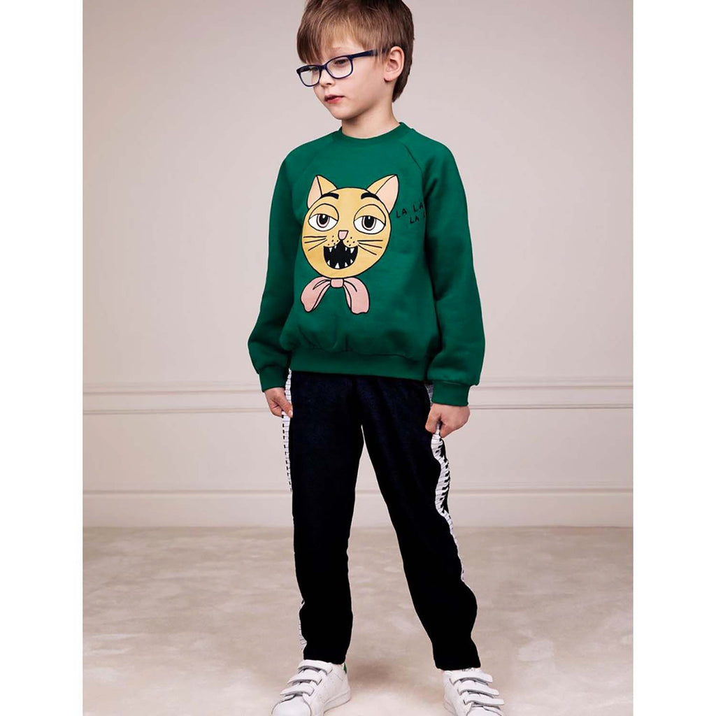 Mini Rodini Cat Choir SP Kids Sweatshirt Green
