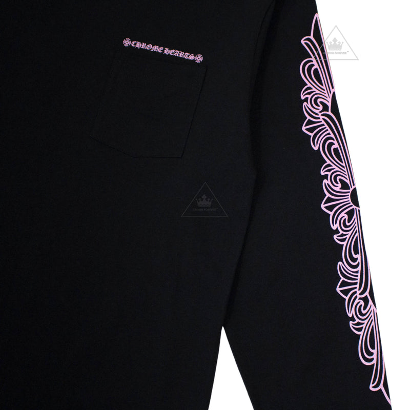 Chrome Hearts Matty Boy Long Sleeve Crew Neck Tee in Pink Script Print