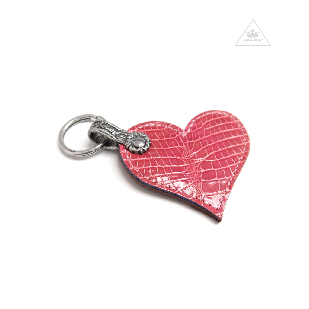 Bill Wall Leather Alligator Key Ring Pink