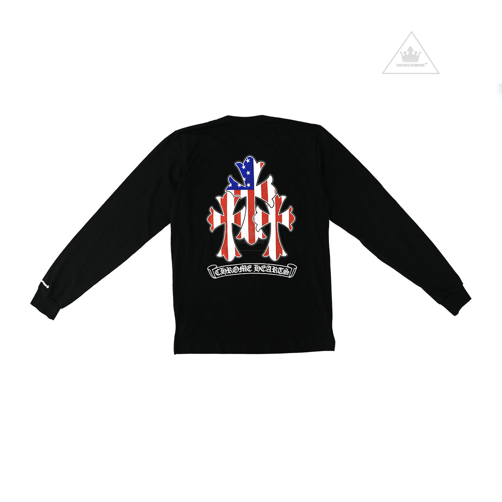 Chrome Hearts American Flag Cemetery Cross Long Sleeve