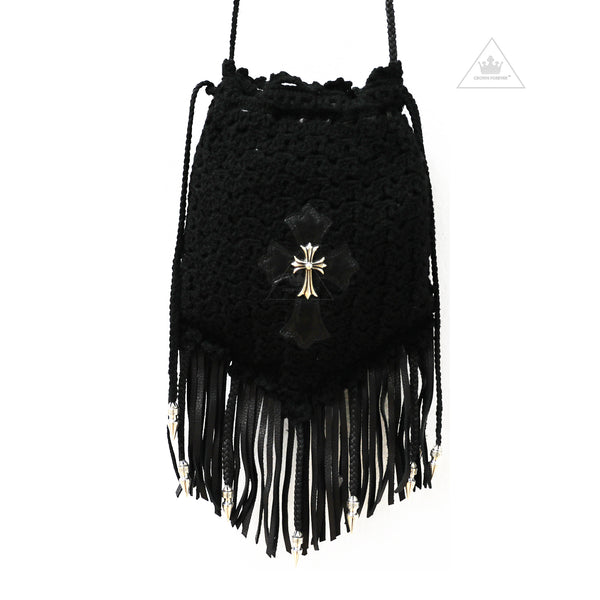 Chrome Hearts Cross Crochet Fringe Boho Bag