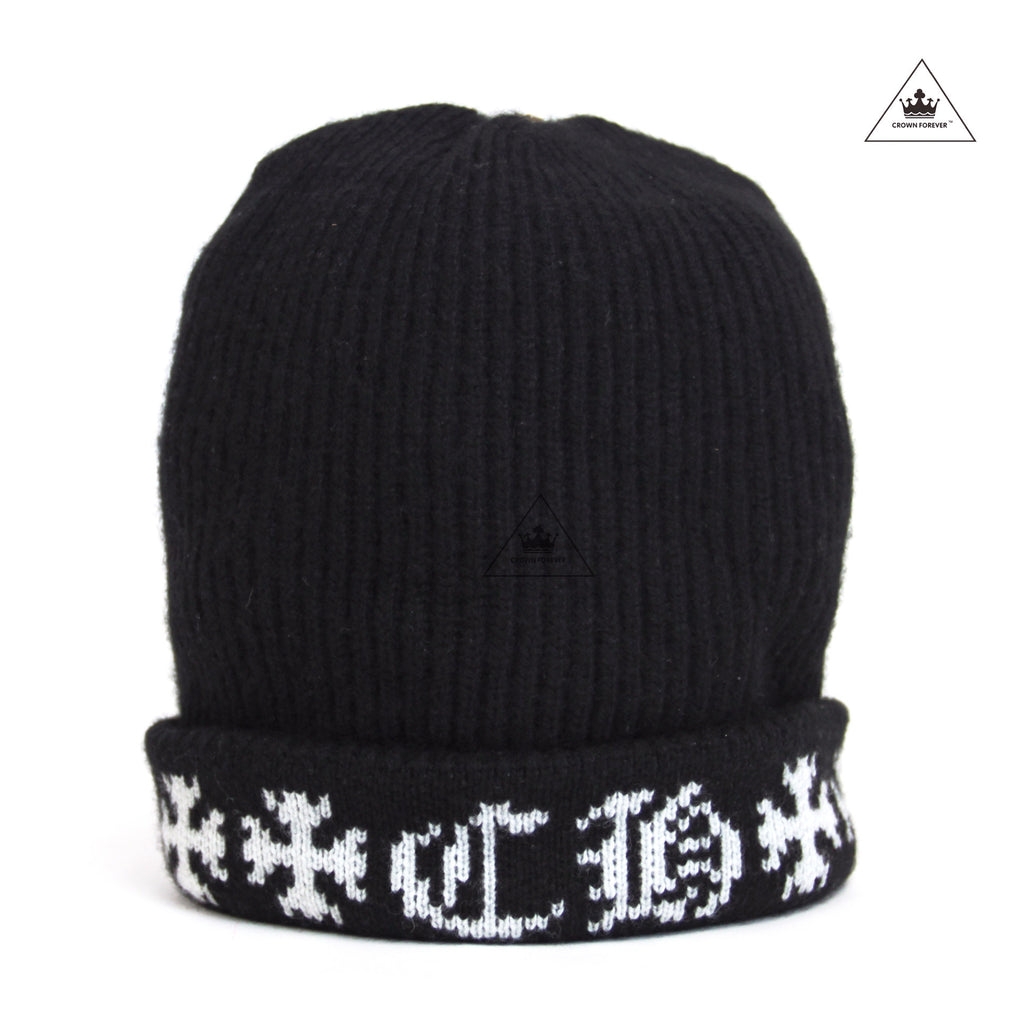 CHROME HEARTS LETTER CASHMERE BEANIE-BLACK