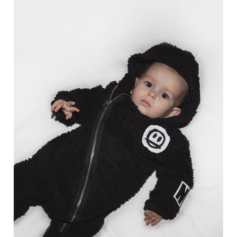 Nununu World Teddy Zip Hooded Overall Black