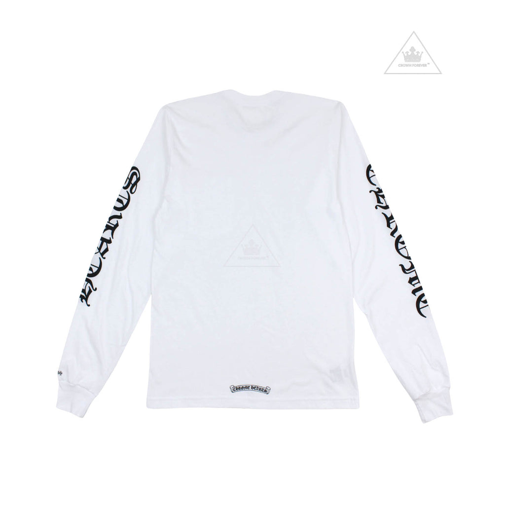 Chrome Hearts Neck Script Letters Long Sleeve Tee White