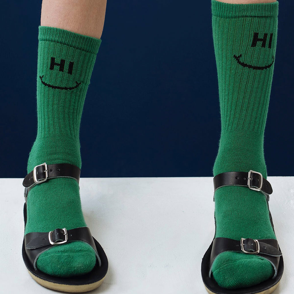 Beau Loves GREEN 'HI/BYE' ANKLE SOCKS BY BEAU LOVES