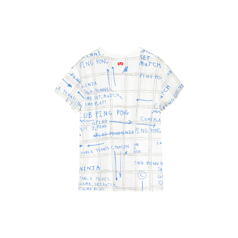 Beau Loves Short Sleeve T-shirt, Ecru, Game Plan AOP