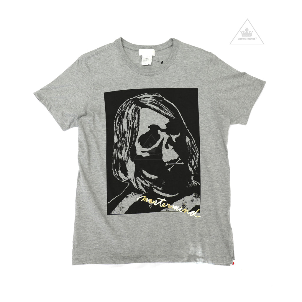 Mastermind Japan Grey Skull Gold Script T Shirt