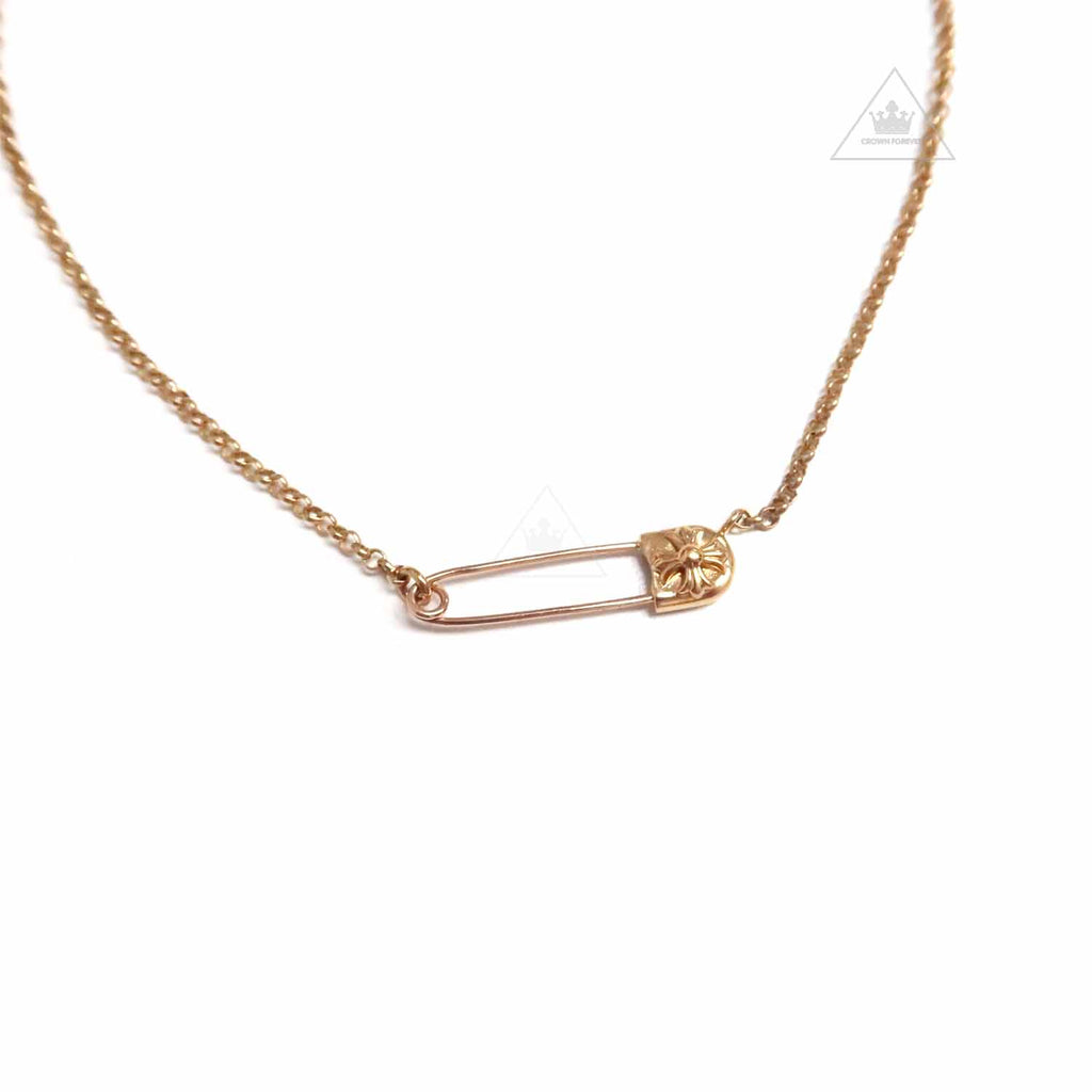 Chrome Hearts 22K Yellow Gold Safety Pin Necklace